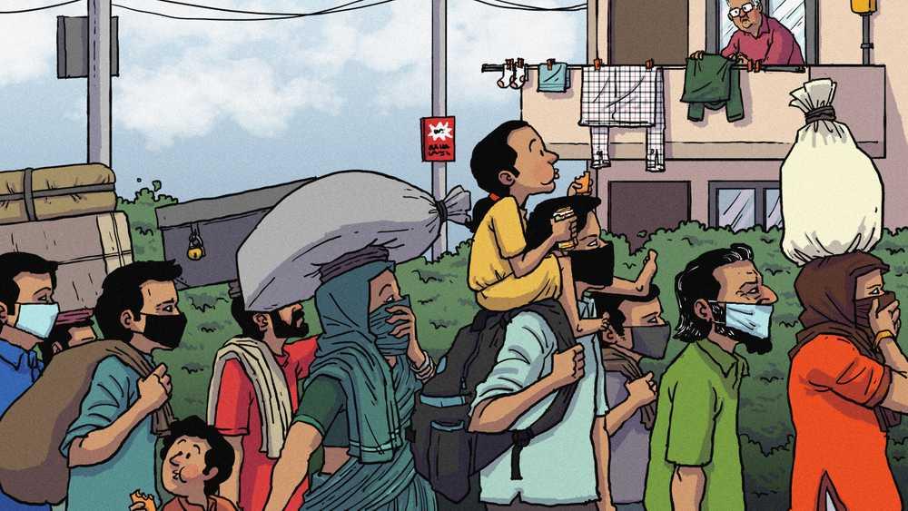 India's real estate - migrants artwork